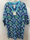 Karen Neuburger Encore Blue Floral Tunic Gown Lightweight Cotton M