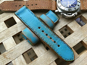 26 mm handmade ,leather watch strap. Rusty blue .130/77/4mm thick .Vintage