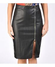 NEW SEXY BLACK FAUX LEATHER LOOK  KNEE-LENGTH EXPOSED ZIP FRONT PARTY SKIRT 8-14