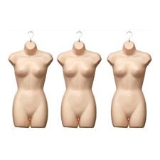 Plastic Hanging Fleshtone Half Round Female Mannequin Torso Shirt Form - 3 Pack