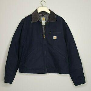 Carhartt Blanket Lined Corduroy Collar Navy Blue Jacket J01 DNY Sz 46 XL