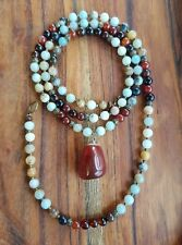 Mala Beads 108 Carnelian & Amazonite Meditation Necklace Chakra Reiki 86cm♡