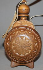 1975 HAND CARVED WOOD WINE BRANDY PITCHER FLASK
