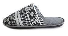 Mens Boys Gents Blue Grey Fairisle Aztec Snowflake Cosy Slipper Mules Sizes 7-12