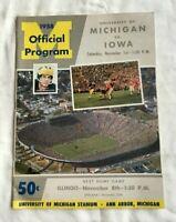 1958 Football Program University of Michigan vs Iowa