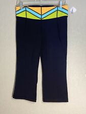 Lululemon Sz 8 Gather and Crow Black Quilt Neon Cropped Pants Full On Luon Yoga