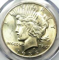 1935-S Peace Silver Dollar $1 - PCGS Uncirculated Detail - Rare Date MS UNC Coin