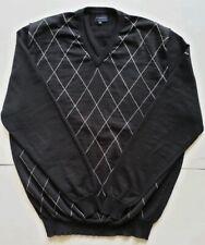 Burberry Golf Sweater Men's XL Black Diamond Extrafine Merino Wool Made in Italy