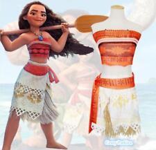 Girls Women Anime Movie Polynesia Princess Moana Cosplay Costume + Necklace