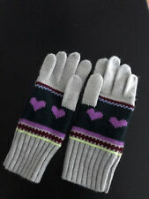Girls Nwot Crewcuts Winter Gloves S Never Worn Gray with Purple Hearts