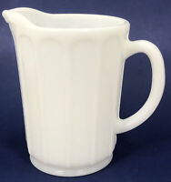 "Vintage White Milk Glass Ribbon Pattern Syrup Pitcher Hazel Atlas 5 3/8"""