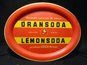 Vassoio Oransoda Lemonsoda SAGA Milano Pelliconi – 1950 Pubblicitario - vintage
