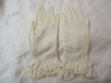 Vintage nylon blend cream Ladies Gloves with ruffled Cuffs