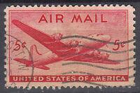 USA Briefmarke gestempelt 5c Air Mail Flugzeug Rundstempel / 2251