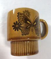 VINTAGE BROWN BUTTERFLY COFFEE MUG CUP STACKABLE Japan Collectible Kitchen Wear