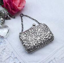 Edwardian solid silver miniature purse, Lawrence Emanuel 1902, repoussé silver