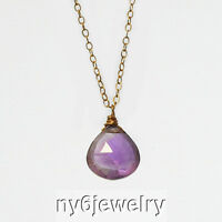 Natural Genuine Purple Amethyst Drop Pendant 14K Gold Filled Chain Necklace 17""