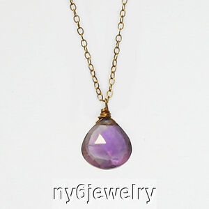 """Natural Genuine Purple Amethyst Drop Pendant 14K Gold Filled Chain Necklace 17"""""""