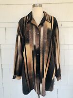 Vintage 70's Style Allison Daley 18 Brown Black Long Sleeve Blouse Polyester EUC
