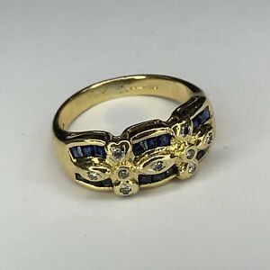 18ct Yellow Gold Sapphire and Diamond Ring Size N.5