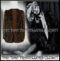 Topshop Kate Moss Shaggy Brown Beige Fleck Faux Fur Groupie Jacket Coat UK 6 8
