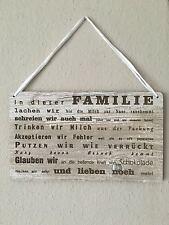 Türschild Deko schild Landhaus Vintage Shabby Retro Style Familie Dekoschild