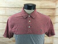 Penguin Classic Fit Polo Shirt Men's M Red and Gray Striped