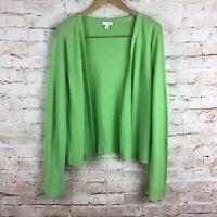 J. Jill Womens Long Sleeve Green Linen Cardigan Sweater Size XL