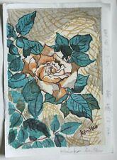 Rose By Kimiko Saito - An Original Signed Japanese Woodblock Print (Kiyoshi)