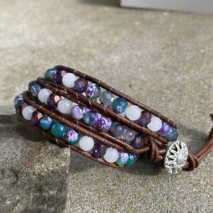 Purple & Green Agate White Gemstone Beaded Three Wrap Brown Leather Bracelet