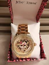 Betsey Johnson Watch NWT Gold Crystal Skull Boyfriend Rose New Battery