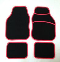 Black & Red Car Mats For Nissan Almera Micra Primera Qashqai Note Juke Pixo