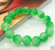 "12mm Natural Green Jade Gemstone Round Beads Stretchy Bangle Bracelet 7.5"""