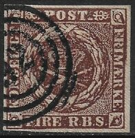 Denmark 1851 Arms 4rs Brown #2 PEMBERTON plate Variety VF Used