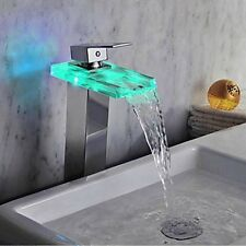 LED Color Changing Tall Waterfall Bathroom Basin Faucet Square Sink Mixer Tap