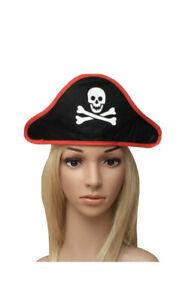Ladies Men's Black Pirate Skull Crossbones Hat on Stretch Headband Caribbean Hat