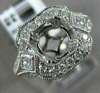 ESTATE WIDE .65CT DIAMOND 14KT WHITE GOLD 3D FILIGREE SEMI MOUNT ENGAGEMENT RING