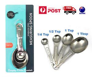 4-piece Metal Measuring Spoons Set Baking Cooking Kitchen Tea Coffee Sugar Spoon