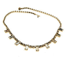 """Vintage Clear Rhinestone Gold Tone Choker Necklace 5mm 15.75"""""""