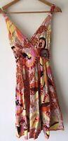 Ladies Orange Mix Dress 10 Cotton Club  <NZ2494