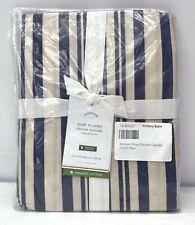 "NEW Pottery Barn Antique Stripe Organic Cotton Shower Curtain~72""~Navy Blue"