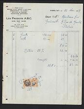 """PARIS (XV°) ARTICLES de MENAGE / BROSSERIE """"PRODUITS A.B.C."""" en 1934"""