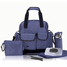 Allis Baby Changing Bag Multi Way Nappy Diaper Bag 7PCS Backpack PVC FREE Navy