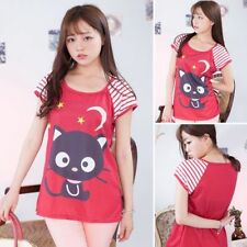 Cotton Blend Regular Size Graphic T-Shirts Cats for Women