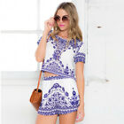 Womens Holiday Cold Shoulder Mini Jumpsuit Rompers Playsuit Beach Dress Shorts