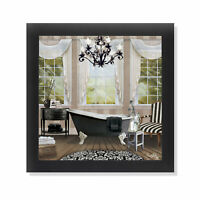 Chandelier Bath I Claw Foot Tub Black & White Framed Formal Bathroom Art 12x12