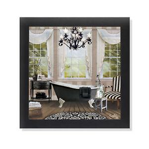 Chandelier Bath I Claw Foot Tub Black & White Framed Formal Bathroom Art 12x12