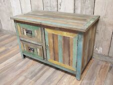 Rustic wood small low sideboard or TV stand, 2 drawer cabinet