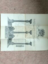 nice old 1923 dated masonic certificate to frank wright