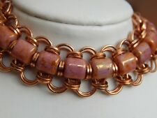 Glass & Bronze Cuff Bracelet Set Hand-made Chain Maille Pink Picasso Style Czech